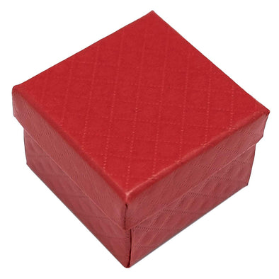 "1 3/4"" x 1 3/4"" Red Diamond Pattern Cardboard Jewelry Box"