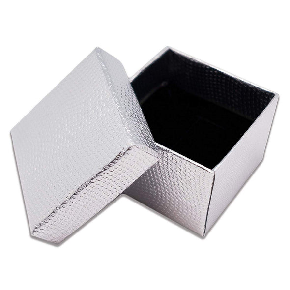 "1 3/4"" x 1 3/4"" Silver Cardboard Jewelry Box with Black Velvet Insert"