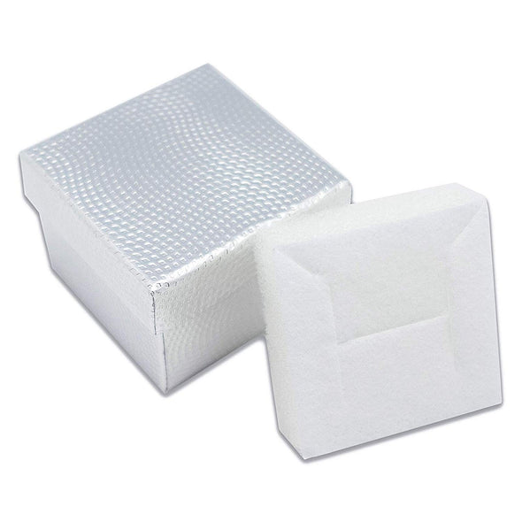 "1 3/4"" x 1 3/4"" Silver Cardboard Jewelry Box with White Velvet Insert"