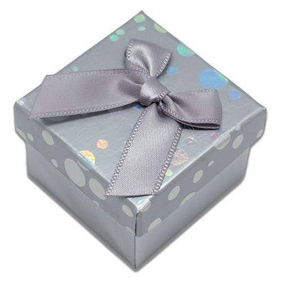 "1 3/4"" x 1 3/4"" Silver Polka Dot Cardboard Ribbon Bow Jewelry Box"