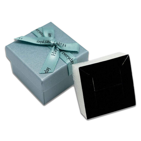 "1 3/4"" x 1 3/4"" Teal Blue Linen Paper Cardboard Ribbon Bow Jewelry Box"