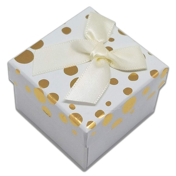 "1 3/4"" x 1 3/4"" White and Gold Polka Dot Cardboard Ribbon Bow Jewelry Box"