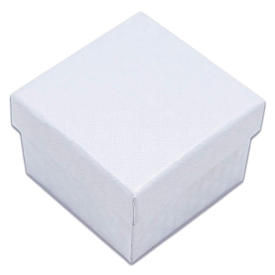 "1 3/4"" x 1 3/4"" White Diamond Pattern Cardboard Jewelry Box"