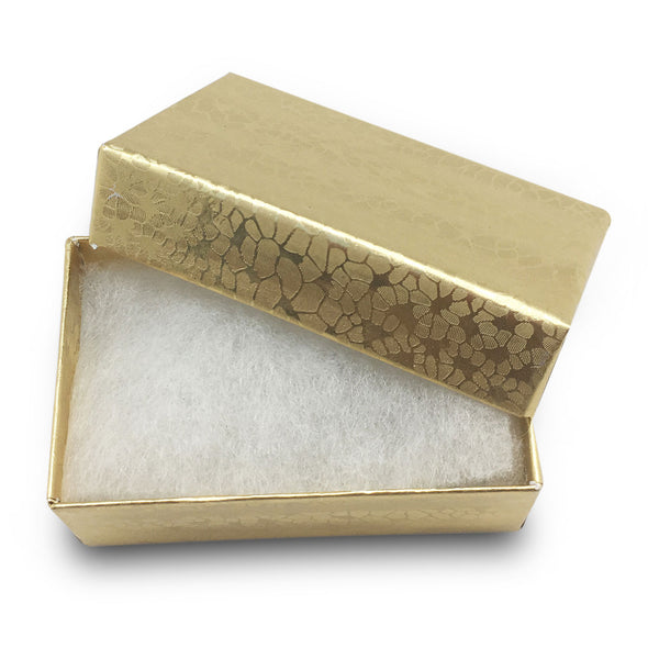 "1 7/8""Wx 1 1/4""Dx 5/8""H Gold Foil Cotton Filled Paper Box"