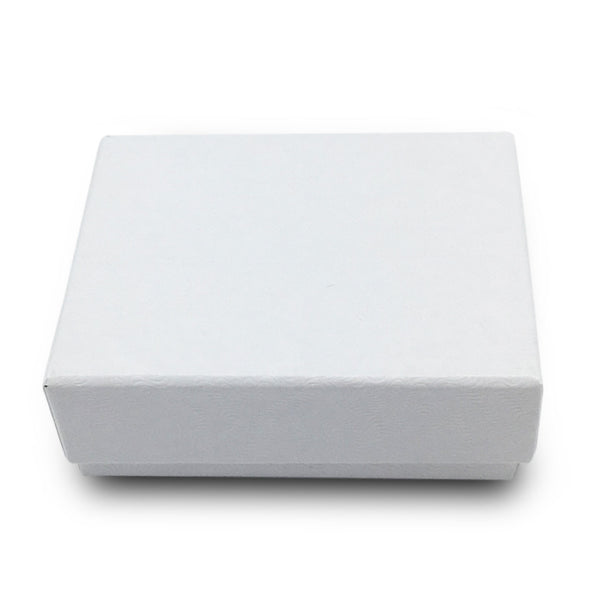 "1 7/8""Wx 1 1/4""Dx 5/8""H White Swirl Cotton Filled Paper Box"