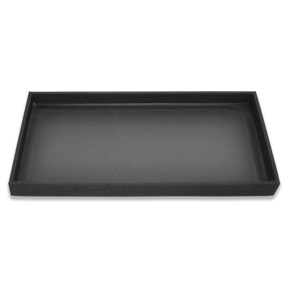 "1"" Black Linen Wooden Jewelry Display Standard Tray"