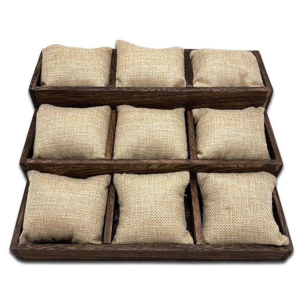 "10 1/2"" x 9 1/4"" Wood Tray with 12 Burlap Jewelry Display Pillows"