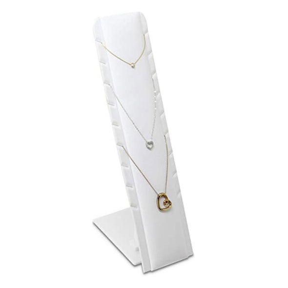 "11 3/4"" White Leatherette Necklace and Earring Jewelry Display"