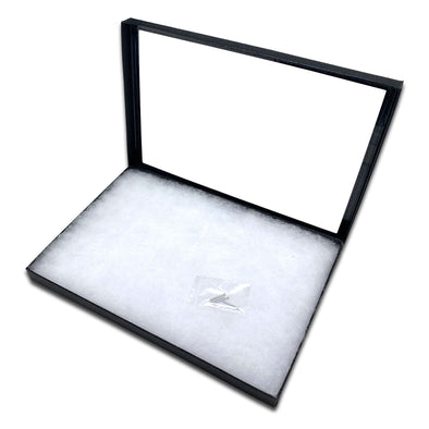 "12 1/4"" x 8 1/4"" Black Glass Top Gem Tray with Poly-Fill Wadding"