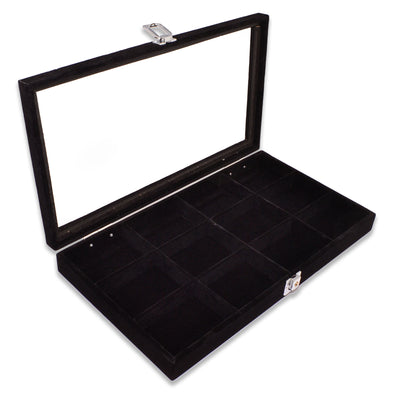 "14 3/4"" x 8 1/4"" 12 Compartment Black Velvet Display Case w/ Glass Top and Key"