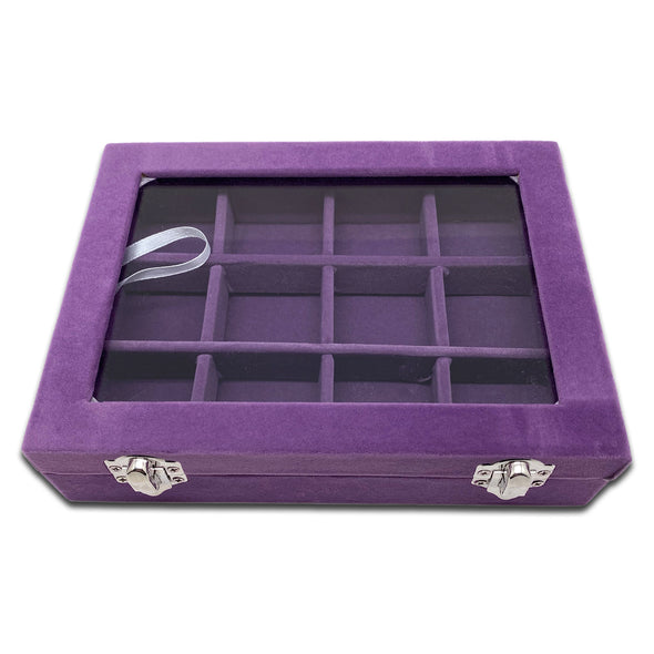 "8"" x 6"" 12 Compartment Purple Velvet Display Case w/ Glass Top"