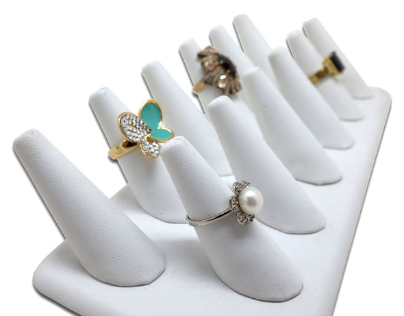 12 Finger White Leatherette Ring Jewelry Display