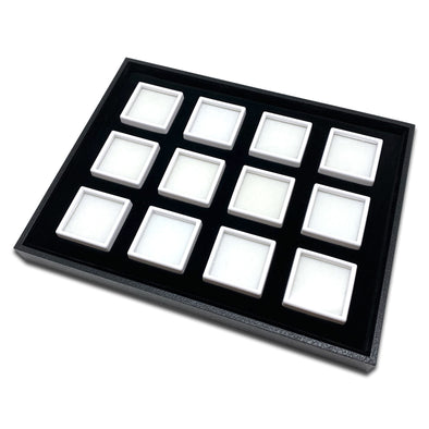 12 White Gem Boxes with Black Wood Tray