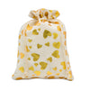"12"" x 16"" Cotton Muslin Gold Heart Drawstring Gift Bags"