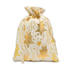 "12"" x 16"" Cotton Muslin Gold Star Drawstring Gift Bags"