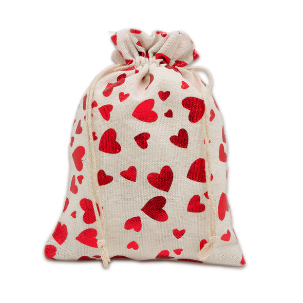 "12"" x 16"" Cotton Muslin Red Heart Drawstring Gift Bags"