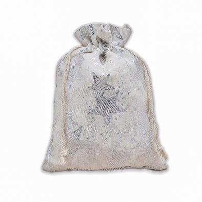 "12"" x 16"" Cotton Muslin Silver Star Drawstring Gift Bags"