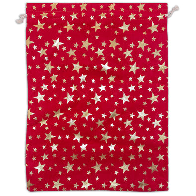 "12"" x 16"" Red Velvet Gold Star Christmas Drawstring Gift Bags"