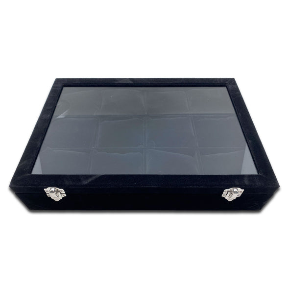 "13 3/4"" x 9 1/2"" x 3"" Glass Top Case with 12 Black Velvet Jewelry Display Pillows"