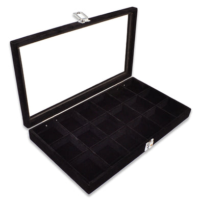 "14 3/4"" x 8 1/4"" 18 Compartment Black Velvet Display Case w/ Glass Top and Key"