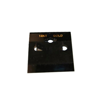 "1 1/2""W x 1 1/2""H Black Hanging Earring Card with ""14KT GOLD"""