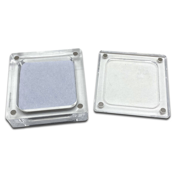 "2 1/4"" x 2 1/4"" Clear Acrylic Gem Stone Box with Magnetic Lid"