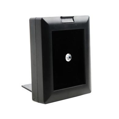 "2 1/4"" x 2 3/4"" Black Plastic Gem Box with Glass Window Lid and Easel"