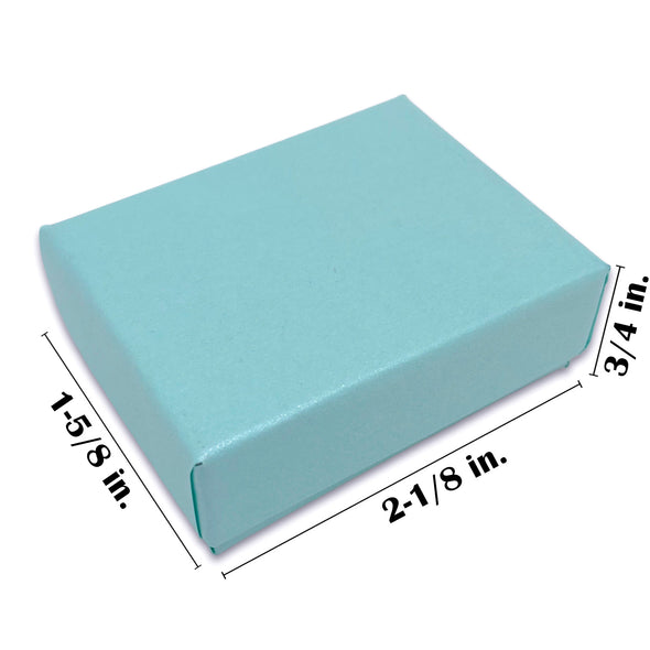 "2 1/8"" x 1 5/8"" x 3/4"" Light Pearl Teal Cotton Filled Paper Box"