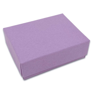 "2 1/8"" x 1 5/8"" x 3/4"" Matte Purple Cotton Filled Paper Box"