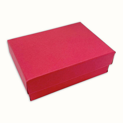 "2 1/8"" x 1 5/8"" x 3/4"" Matte Red Cotton Filled Paper Box"