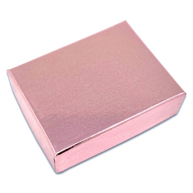 "2 1/8"" x 1 5/8"" x 3/4"" Metallic Rose Gold Cotton Filled Paper Box"