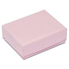 "2 1/8"" x 1 5/8"" x 3/4"" Pink Cotton Filled Paper Box"