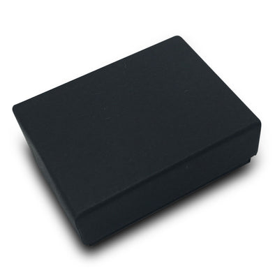 "2 1/8""Wx 1 5/8""Dx 3/4""H Black Cotton Filled Paper Box"