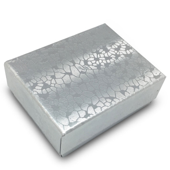 "2 1/8""Wx 1 5/8""Dx 3/4""H Silver Cotton Filled Box"