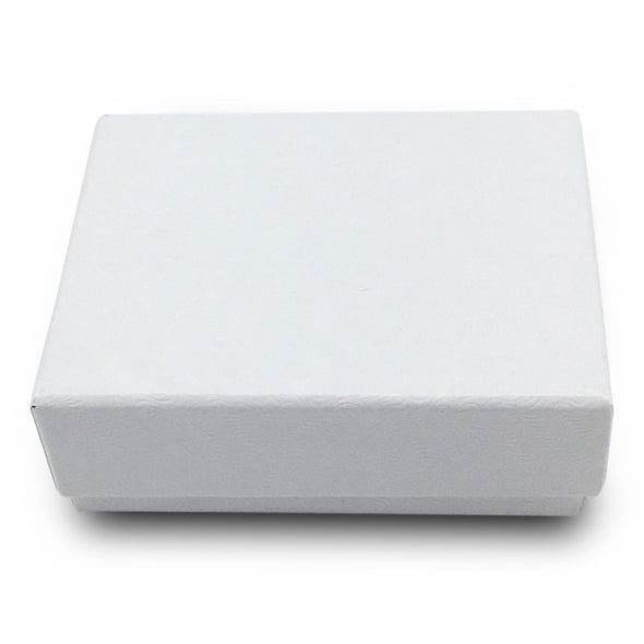 "2 1/8"" x 1 5/8"" x 3/4"" White Cotton Filled Paper Box"