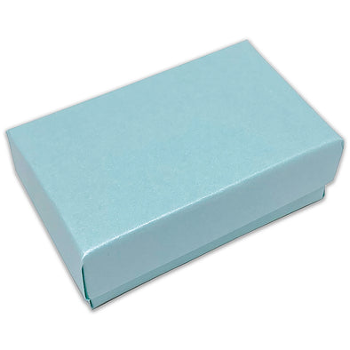 "2 5/8"" x 1 5/8"" x 1"" Light Pearl Teal Cotton Filled Paper Box"