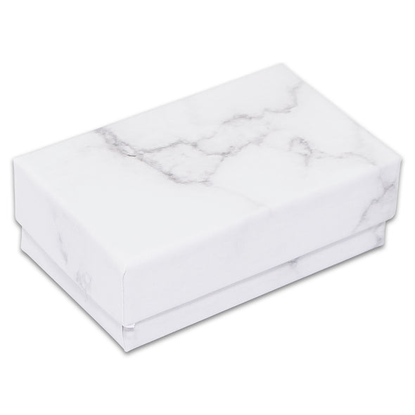 "2 5/8"" x 1 5/8"" x 1"" Marble White Cotton Filled Paper Box"
