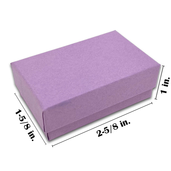 "2 5/8"" x 1 5/8"" x 1"" Matte Purple Cotton Filled Paper Box"