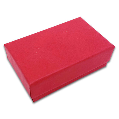"2 5/8"" x 1 5/8"" x 1"" Matte Red Cotton Filled Paper Box"