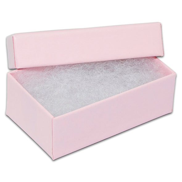 "2 5/8"" x 1 5/8"" x 1"" Pink Cotton Filled Paper Box"