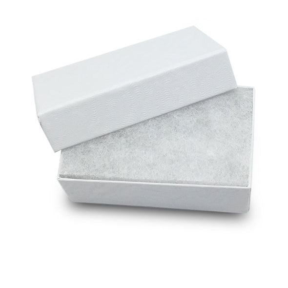 "2 5/8""W x 1 1/2"" D x 1"" H White Cotton Filled Paper Box"