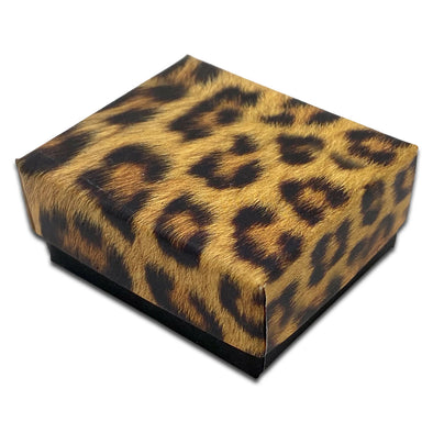 "2"" x 1 3/4"" x 7/8"" Leopard Print Paper Earring Box with Black Velvet Insert"
