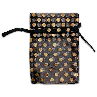 "2"" x 3"" Black with Gold Polka Dot Organza Drawstring Pouch Gift Bags"