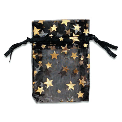 "2"" x 3"" Black and Gold Star Organza Drawstring Pouch Gift Bags"