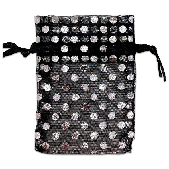 "2"" x 3"" Black and Silver Polka Dot Organza Drawstring Pouch Gift Bags"