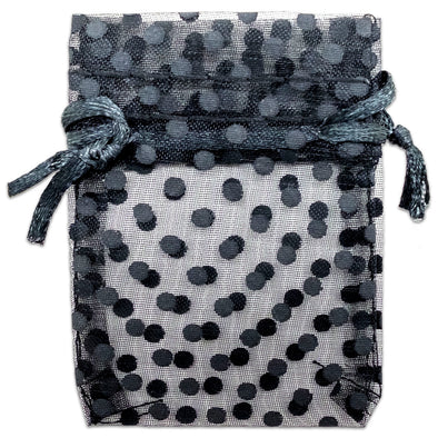 "2"" x 3"" Black with Black Polka Dot Organza Drawstring Pouch Gift Bags"