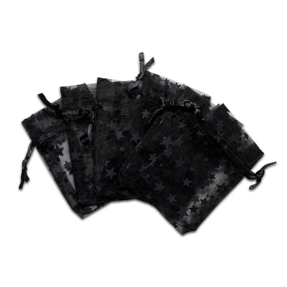 "2"" x 3"" Black with Black Star Organza Drawstring Pouch Gift Bags"