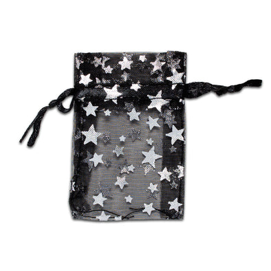 "2"" x 3"" Black with Silver Star Organza Drawstring Pouch Gift Bags"