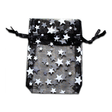 "2"" x 3"" Black with White Star Organza Drawstring Pouch Gift Bags"