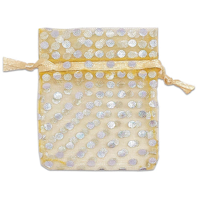 "2"" x 3"" Gold with Silver Polka Dot Organza Drawstring Pouch Gift Bags"
